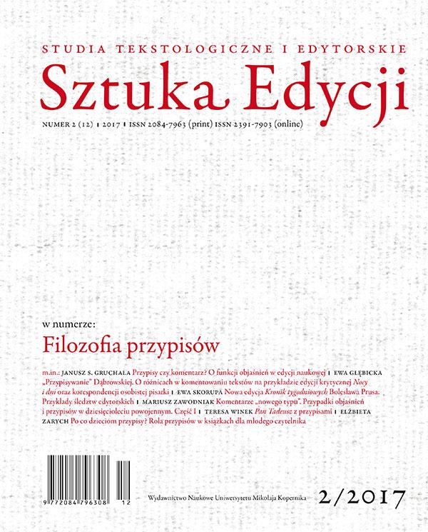Pokaż  Tom 12 Nr 2 (2017): Filozofia przypisów, pod red. M. Bizior-Dombrowskiej i B. Kuczkowskiego