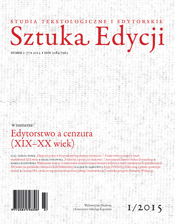 Pokaż  Tom 7 (2015): Edytorstwo a cenzura (XIX-XX wiek), pod red. Kamili Budrowskiej i Elżbiety Dąbrowicz