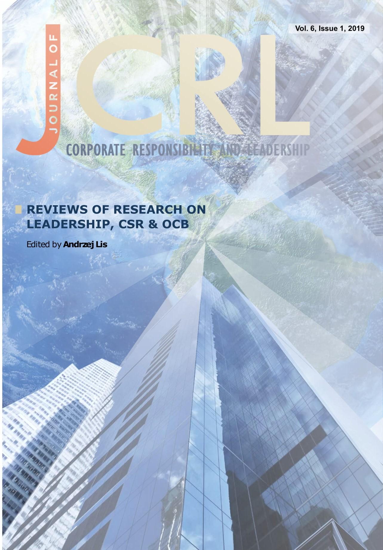 View Vol. 6 No. 1 (2019): Reviews of Research on Leadership, CSR & OCB
